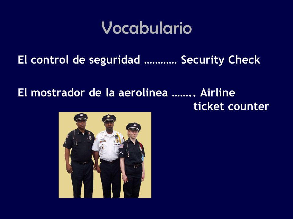 Vocabulario El control de seguridad ………… Security Check El mostrador de la aerolinea ……..