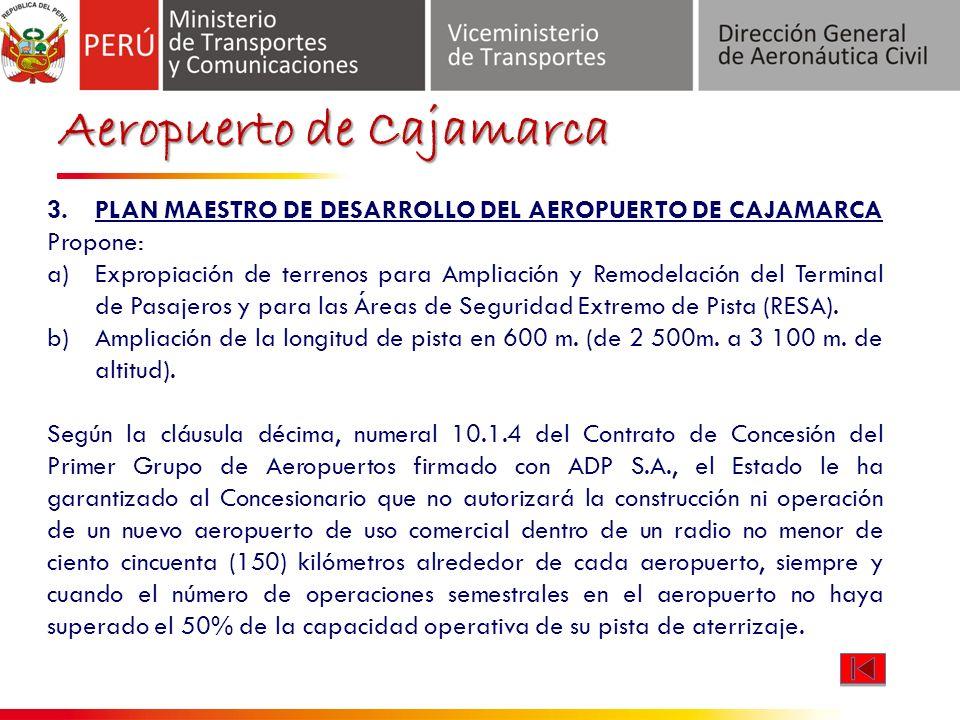 Aeropuerto de Cajamarca 3.PLAN MAESTRO DE DESARROLLO DEL AEROPUERTO DE CAJAMARCA Propone: a)Expropiación de terrenos para Ampliación y Remodelación del Terminal de Pasajeros y para las Áreas de Seguridad Extremo de Pista (RESA).
