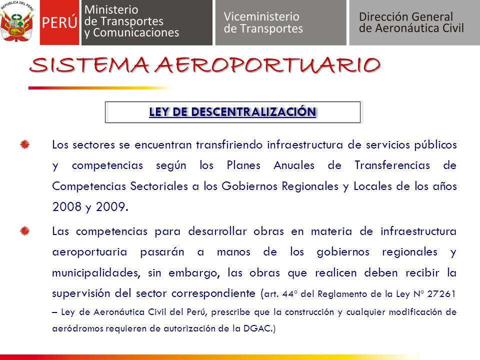 SISTEMA AEROPORTUARIO LEY DE DESCENTRALIZACIÓN Los sectores se encuentran transfiriendo infraestructura de servicios públicos y competencias según los Planes Anuales de Transferencias de Competencias Sectoriales a los Gobiernos Regionales y Locales de los años 2008 y 2009.