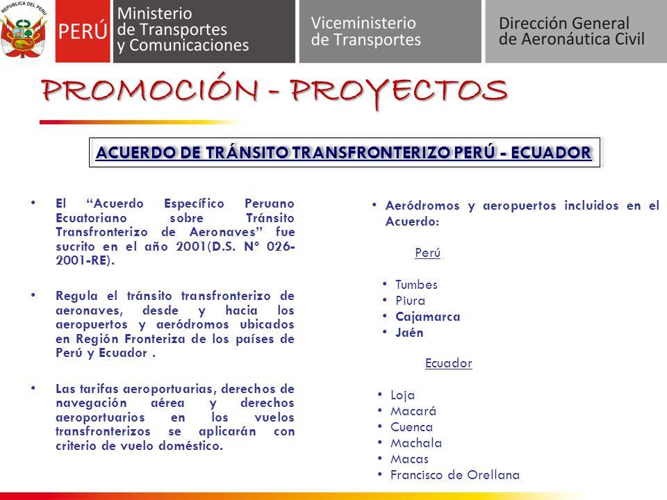 El Acuerdo Específico Peruano Ecuatoriano sobre Tránsito Transfronterizo de Aeronaves fue sucrito en el año 2001(D.S.