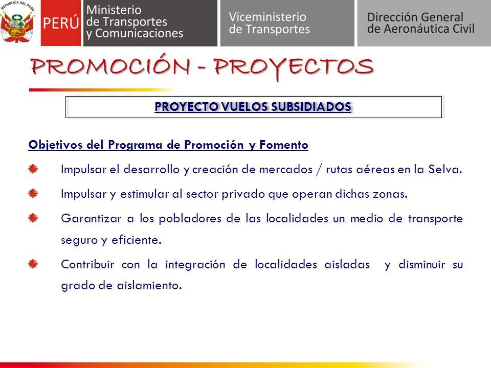Objetivos del Programa de Promoción y Fomento Impulsar el desarrollo y creación de mercados / rutas aéreas en la Selva.