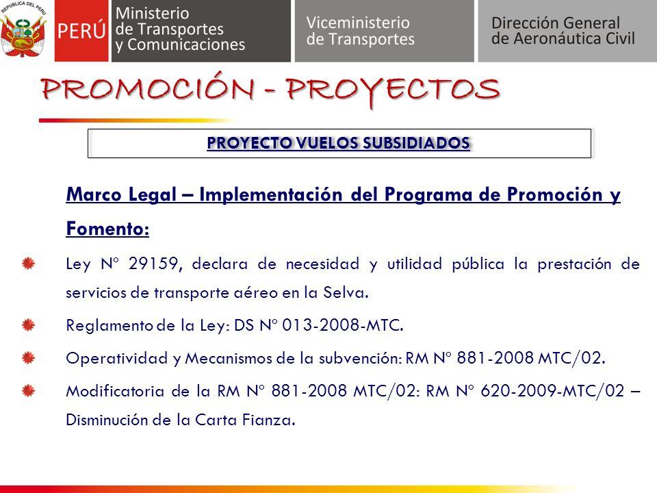 Introducción Marco Legal – Implementación del Programa de Promoción y Fomento: Ley Nº 29159, declara de necesidad y utilidad pública la prestación de servicios de transporte aéreo en la Selva.
