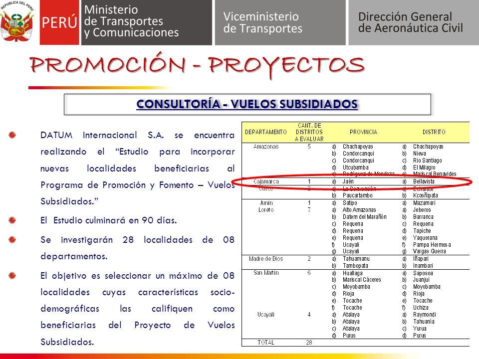 PROMOCIÓN - PROYECTOS CONSULTORÍA - VUELOS SUBSIDIADOS DATUM Internacional S.A.