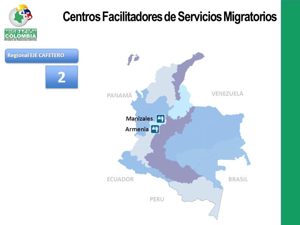Regional EJE CAFETERO Manizales Armenia 2 2 PANAMÁ VENEZUELA BRASIL PERU ECUADOR Centros Facilitadores de Servicios Migratorios