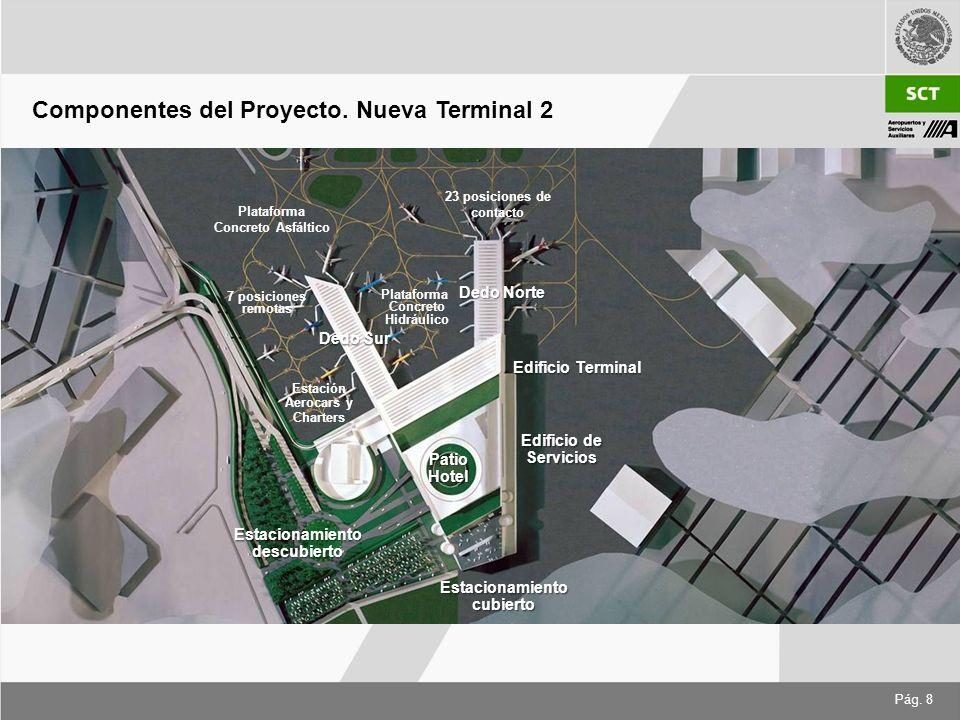 Pág. 8 Dedo Sur Dedo Norte Edificio Terminal PatioHotel Estacionamientocubierto Edificio de Servicios Estación Aerocars y Charters Plataforma Concreto