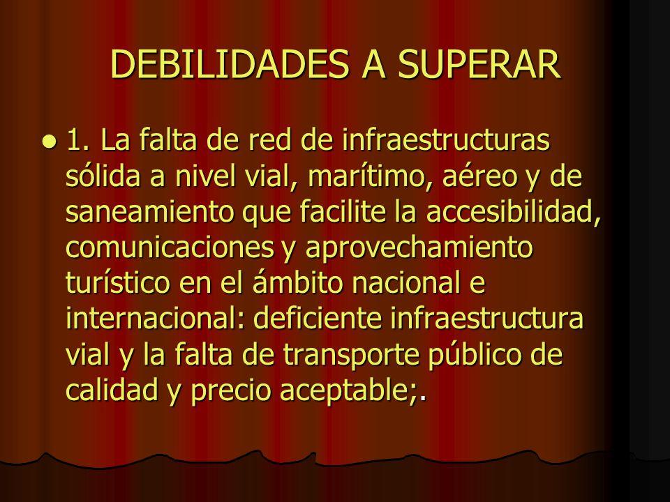 DEBILIDADES A SUPERAR 1. La falta de red de infraestructuras sólida a nivel vial, marítimo, aéreo y de saneamiento que facilite la accesibilidad, comu