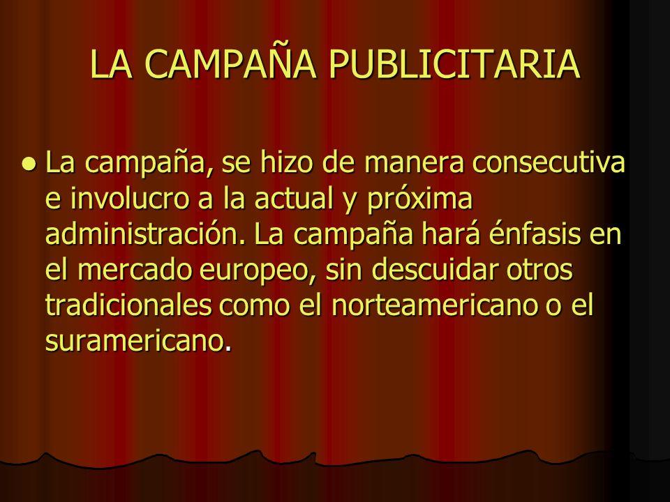 LA CAMPAÑA PUBLICITARIA La campaña, se hizo de manera consecutiva e involucro a la actual y próxima administración. La campaña hará énfasis en el merc