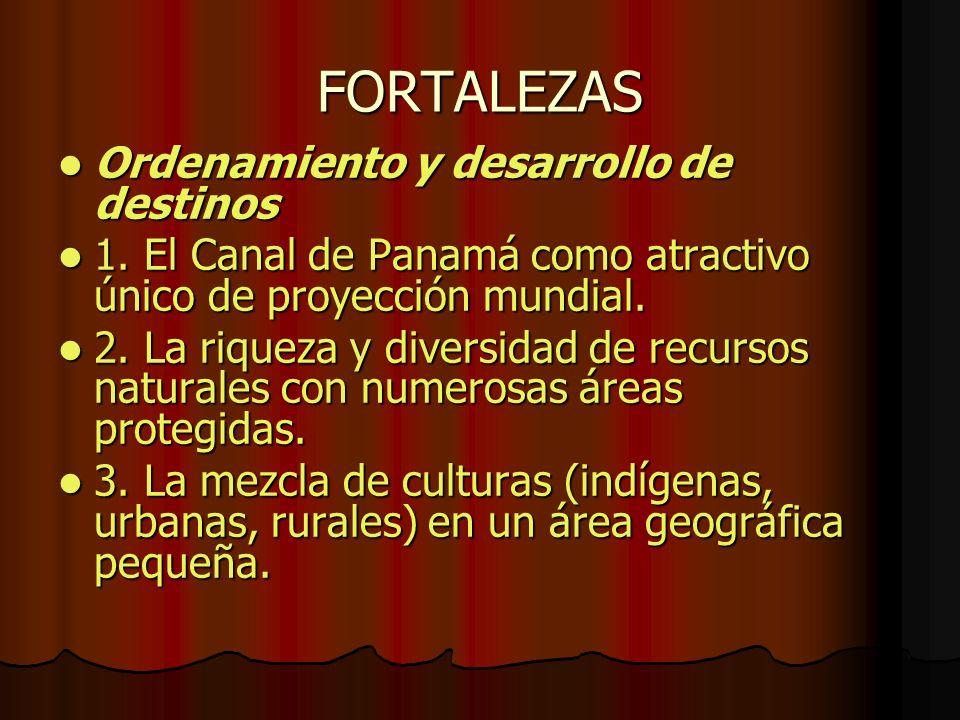 FORTALEZAS Ordenamiento y desarrollo de destinos Ordenamiento y desarrollo de destinos 1. El Canal de Panamá como atractivo único de proyección mundia