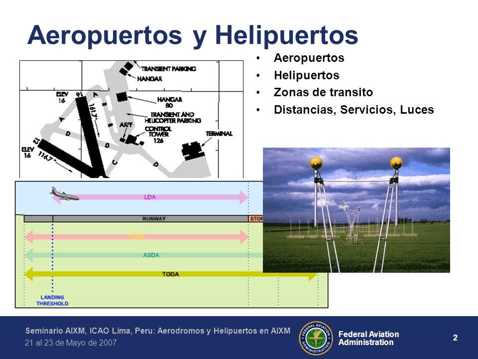 2 Federal Aviation Administration Seminario AIXM, ICAO Lima, Peru: Aerodromos y Helipuertos en AIXM 21 al 23 de Mayo de 2007 Aeropuertos y Helipuertos Aeropuertos Helipuertos Zonas de transito Distancias, Servicios, Luces