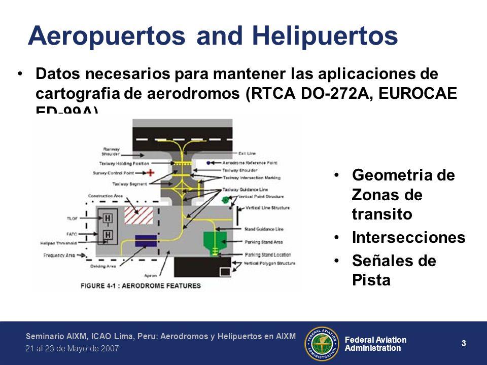 3 Federal Aviation Administration Seminario AIXM, ICAO Lima, Peru: Aerodromos y Helipuertos en AIXM 21 al 23 de Mayo de 2007 Aeropuertos and Helipuertos Datos necesarios para mantener las aplicaciones de cartografia de aerodromos (RTCA DO-272A, EUROCAE ED-99A) Geometria de Zonas de transito Intersecciones Señales de Pista