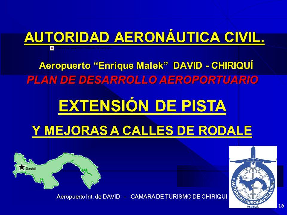 Aeropuerto Int. de DAVID - CAMARA DE TURISMO DE CHIRIQUI 16 AUTORIDAD AERONÁUTICA CIVIL. Aeropuerto Enrique Malek DAVID - CHIRIQUÍ PLAN DE DESARROLLO