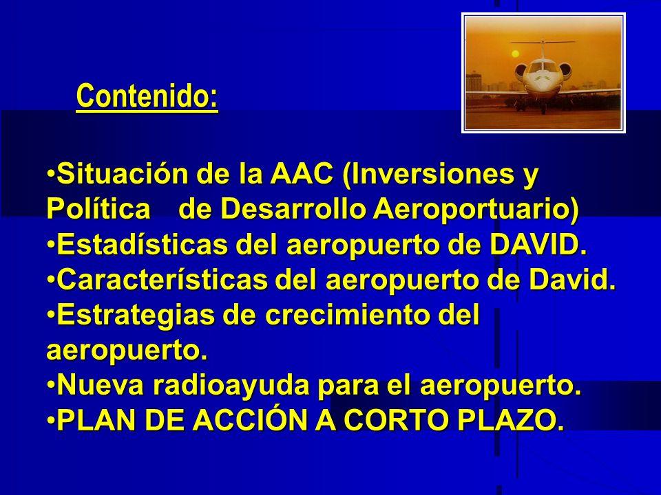 Situación de la AAC (Inversiones y Política de Desarrollo Aeroportuario)Situación de la AAC (Inversiones y Política de Desarrollo Aeroportuario) Estad