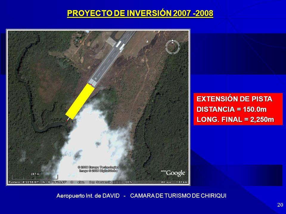 Aeropuerto Int. de DAVID - CAMARA DE TURISMO DE CHIRIQUI 20 EXTENSIÓN DE PISTA DISTANCIA = 150.0m LONG. FINAL = 2,250m PROYECTO DE INVERSIÓN 2007 -200