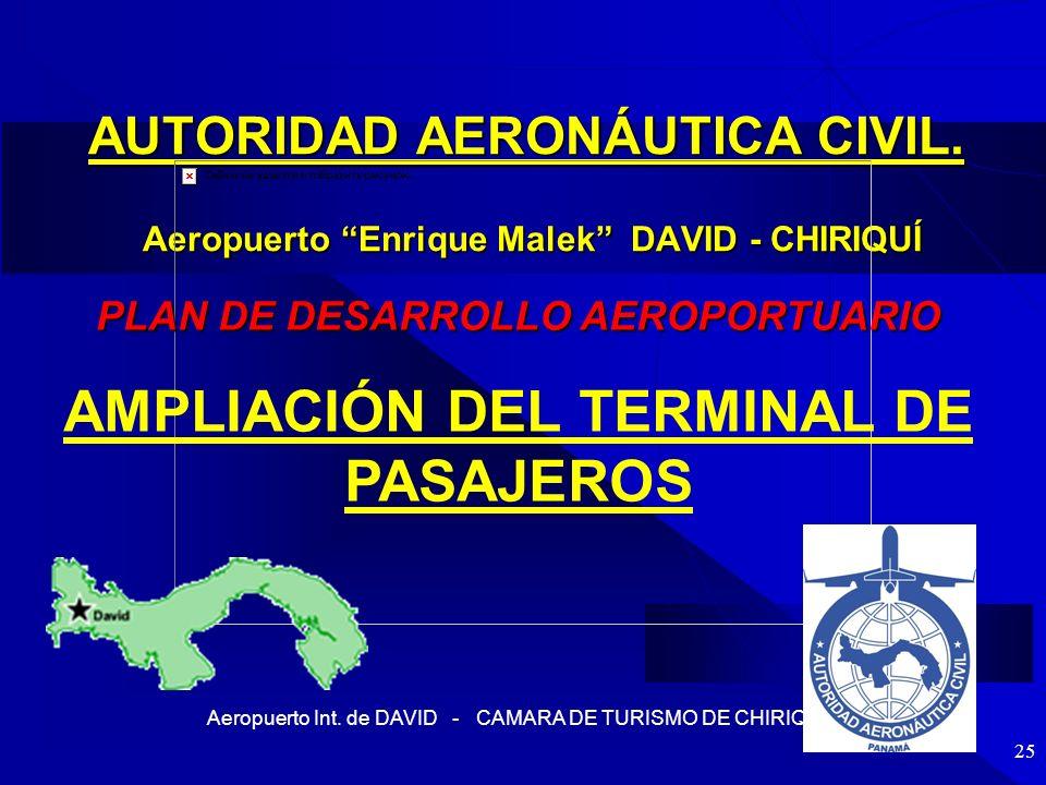 Aeropuerto Int. de DAVID - CAMARA DE TURISMO DE CHIRIQUI 25 AUTORIDAD AERONÁUTICA CIVIL. Aeropuerto Enrique Malek DAVID - CHIRIQUÍ PLAN DE DESARROLLO