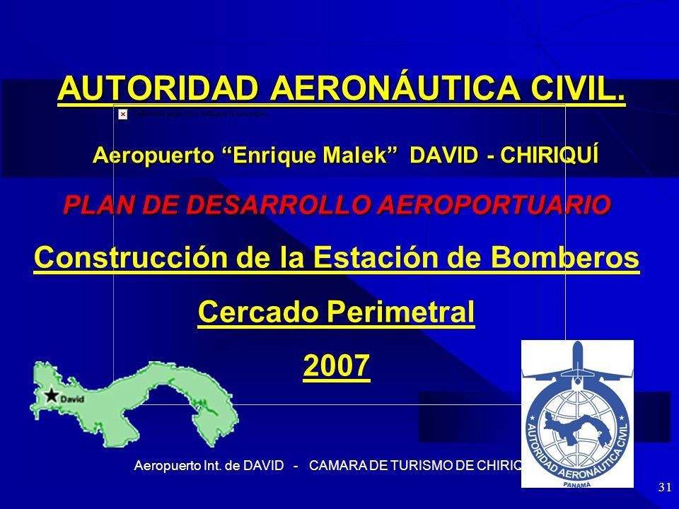 Aeropuerto Int. de DAVID - CAMARA DE TURISMO DE CHIRIQUI 31 AUTORIDAD AERONÁUTICA CIVIL. Aeropuerto Enrique Malek DAVID - CHIRIQUÍ PLAN DE DESARROLLO