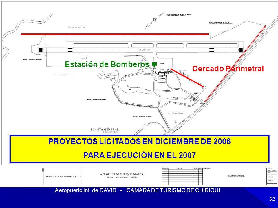 Aeropuerto Int. de DAVID - CAMARA DE TURISMO DE CHIRIQUI 32 Estación de Bomberos Cercado Perimetral PROYECTOS LICITADOS EN DICIEMBRE DE 2006 PARA EJEC
