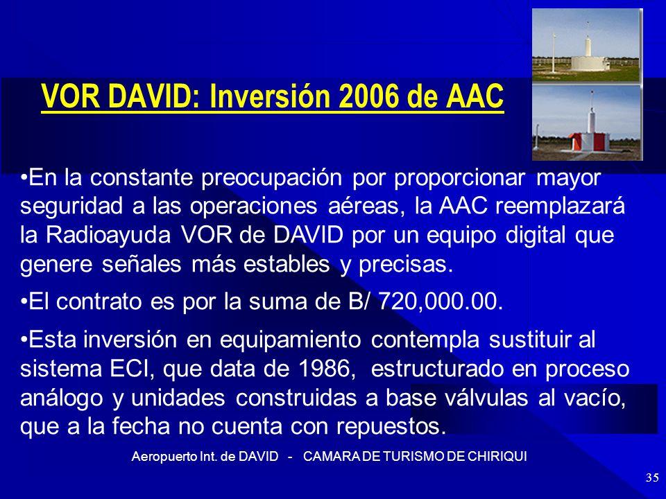 Aeropuerto Int. de DAVID - CAMARA DE TURISMO DE CHIRIQUI 35 VOR DAVID: Inversión 2006 de AAC En la constante preocupación por proporcionar mayor segur