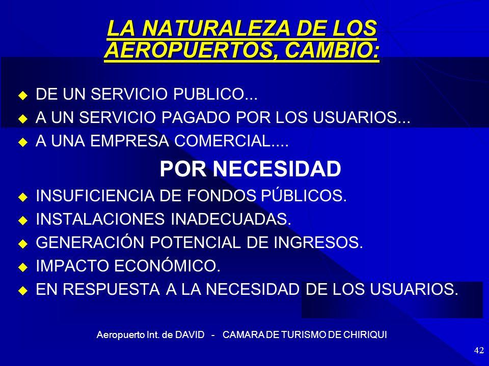 Aeropuerto Int. de DAVID - CAMARA DE TURISMO DE CHIRIQUI 42 LA NATURALEZA DE LOS AEROPUERTOS, CAMBÍO: DE UN SERVICIO PUBLICO... A UN SERVICIO PAGADO P