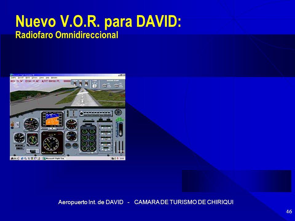 Aeropuerto Int. de DAVID - CAMARA DE TURISMO DE CHIRIQUI 46 Nuevo V.O.R. para DAVID: Radiofaro Omnidireccional
