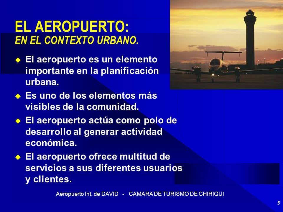 Aeropuerto Int. de DAVID - CAMARA DE TURISMO DE CHIRIQUI 5 EL AEROPUERTO: EN EL CONTEXTO URBANO. El aeropuerto es un elemento importante en la planifi