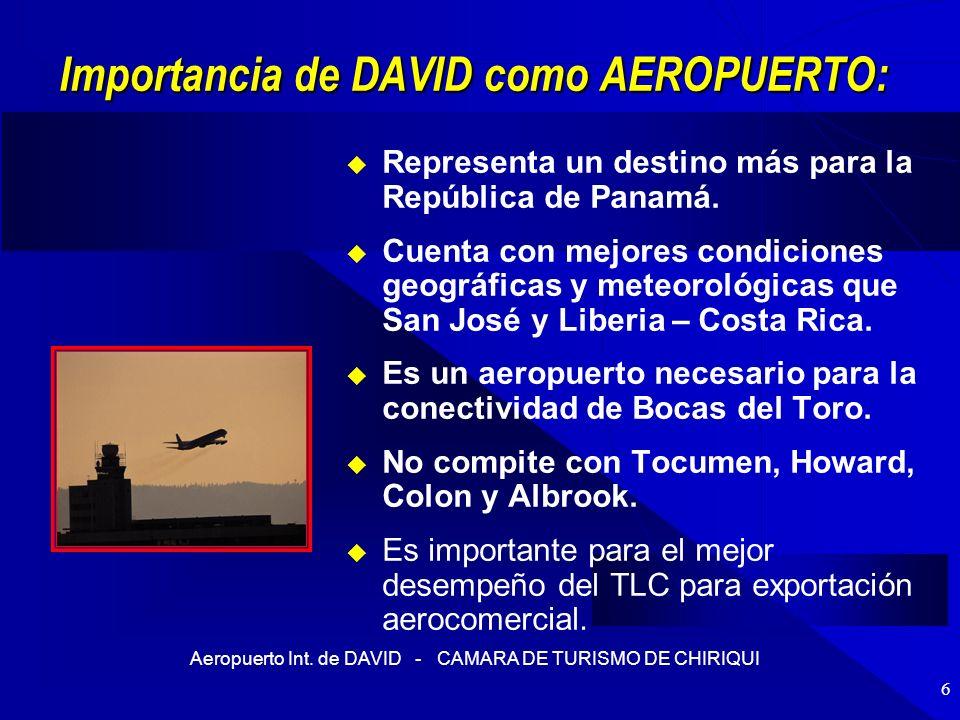 Aeropuerto Int. de DAVID - CAMARA DE TURISMO DE CHIRIQUI 6 Importancia de DAVID como AEROPUERTO: Representa un destino más para la República de Panamá