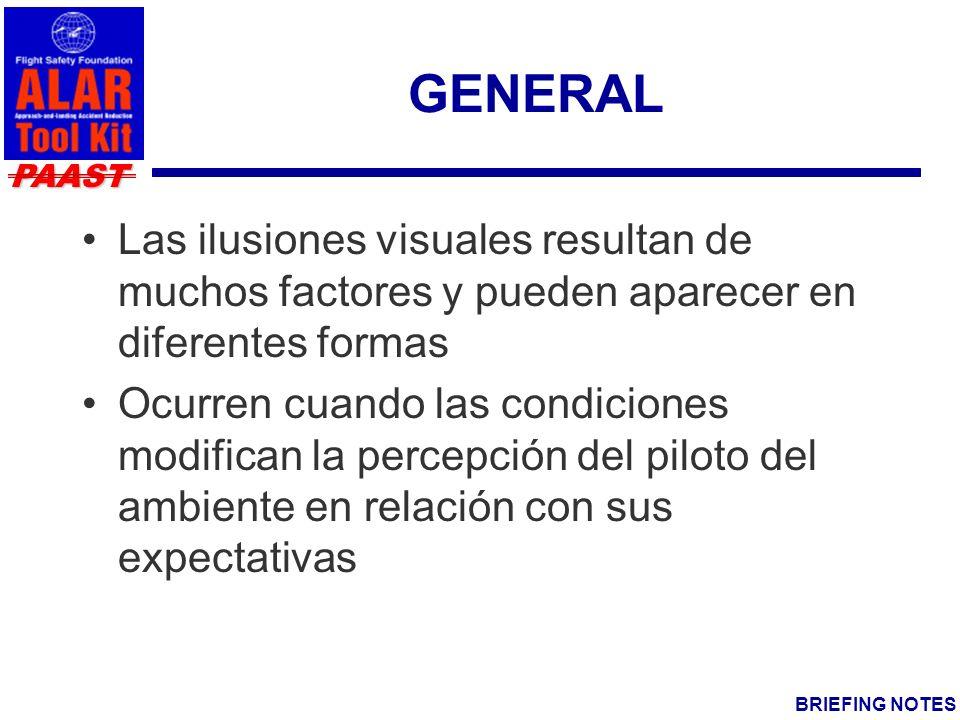 PAAST BRIEFING NOTES GENERAL Las ilusiones visuales resultan de muchos factores y pueden aparecer en diferentes formas Ocurren cuando las condiciones modifican la percepción del piloto del ambiente en relación con sus expectativas