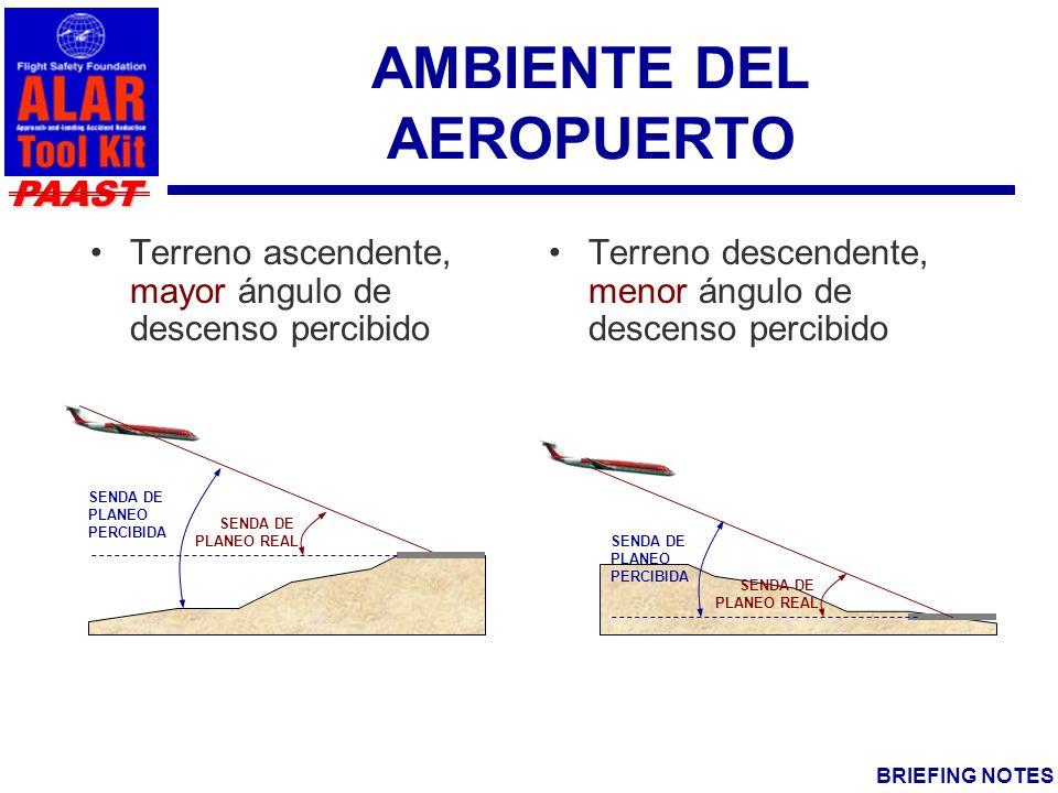 PAAST BRIEFING NOTES AMBIENTE DEL AEROPUERTO Terreno ascendente, mayor ángulo de descenso percibido Terreno descendente, menor ángulo de descenso percibido SENDA DE PLANEO REAL SENDA DE PLANEO PERCIBIDA SENDA DE PLANEO PERCIBIDA SENDA DE PLANEO REAL