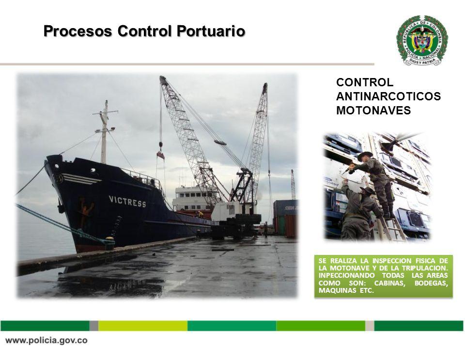 Procesos Control Portuario CONTROL ANTINARCOTICOS MOTONAVES SE REALIZA LA INSPECCION FISICA DE LA MOTONAVE Y DE LA TRIPULACION. INPECCIONANDO TODAS LA