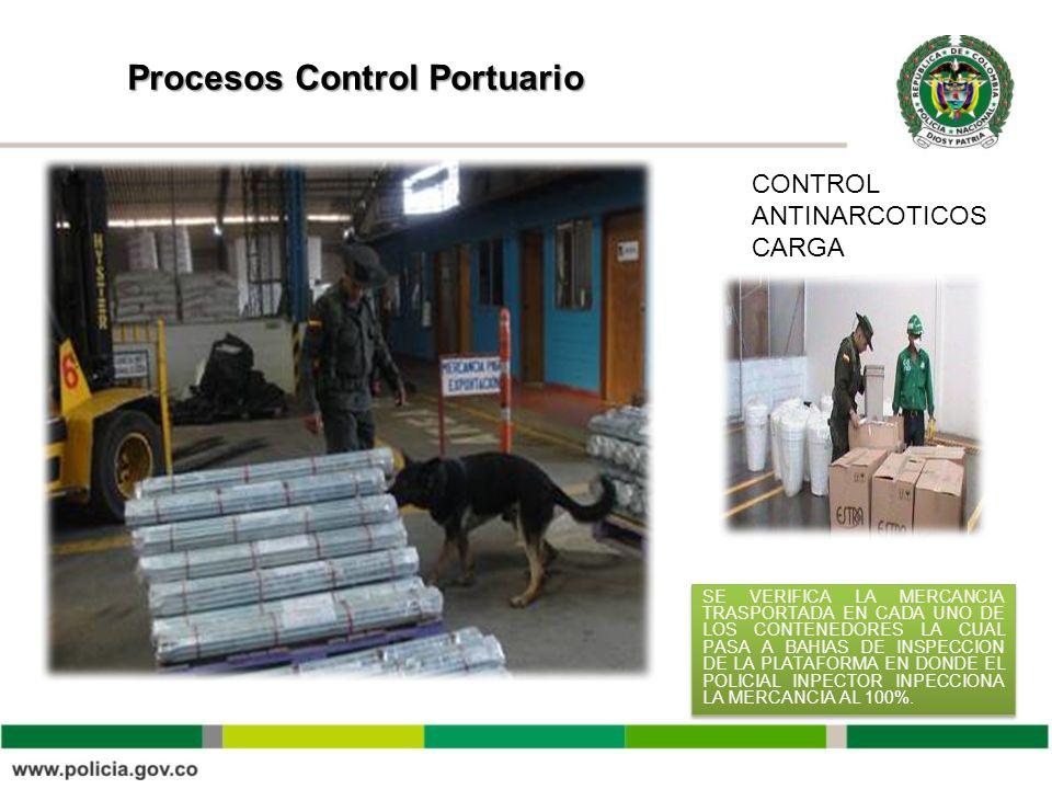 Procesos Control Portuario CONTROL ANTINARCOTICOS CARGA SE VERIFICA LA MERCANCIA TRASPORTADA EN CADA UNO DE LOS CONTENEDORES LA CUAL PASA A BAHIAS DE