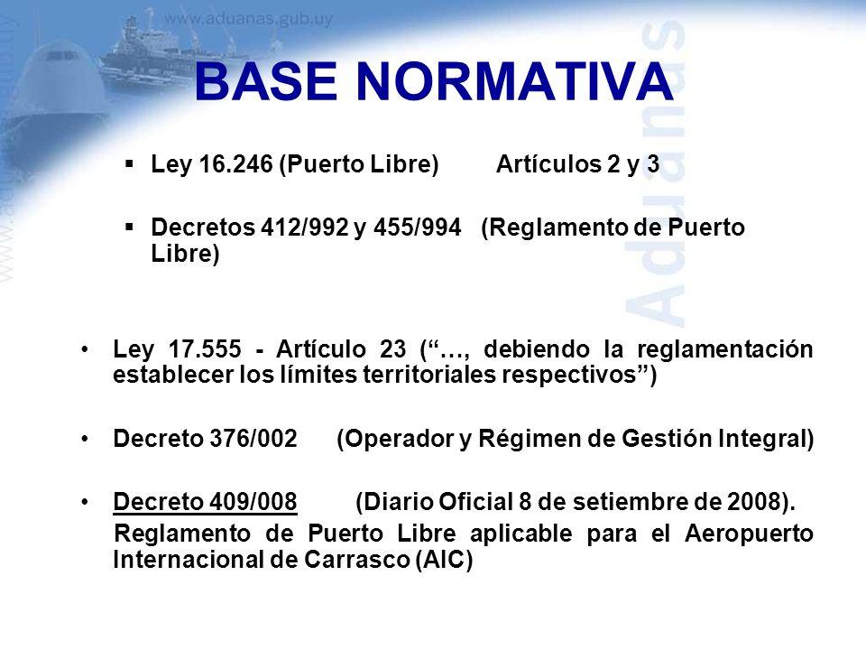 BASE NORMATIVA Ley 16.246 (Puerto Libre) Artículos 2 y 3 Decretos 412/992 y 455/994 (Reglamento de Puerto Libre) Ley 17.555 - Artículo 23 (…, debiendo