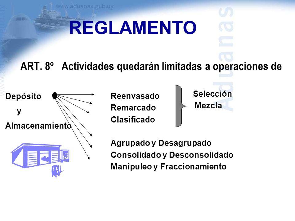 REGLAMENTO ART. 8º Actividades quedarán limitadas a operaciones de Reenvasado Remarcado Clasificado Agrupado y Desagrupado Consolidado y Desconsolidad