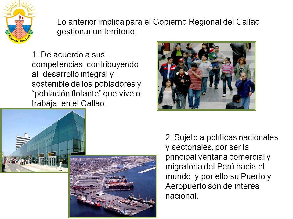 Lo anterior implica para el Gobierno Regional del Callao gestionar un territorio: 1. De acuerdo a sus competencias, contribuyendo al desarrollo integr