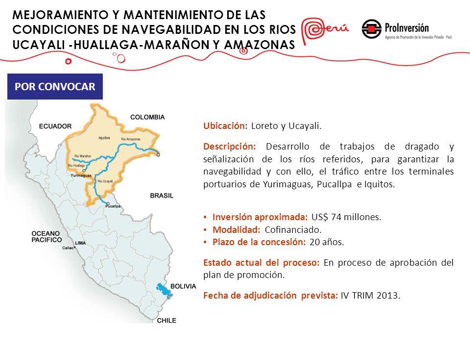 MEJORAMIENTO Y MANTENIMIENTO DE LAS CONDICIONES DE NAVEGABILIDAD EN LOS RIOS UCAYALI -HUALLAGA-MARAÑON Y AMAZONAS POR CONVOCAR Ubicación: Loreto y Uca