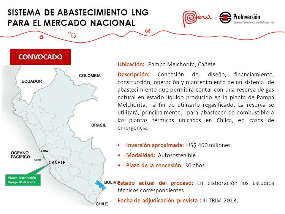 SISTEMA DE ABASTECIMIENTO LNG PARA EL MERCADO NACIONAL CONVOCADO Ubicación: Pampa Melchorita, Cañete. Descripción: Concesión del diseño, financiamient