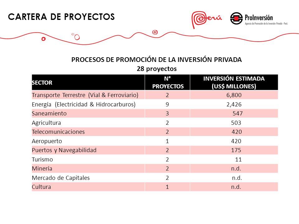 CARTERA DE PROYECTOS PROCESOS DE PROMOCIÓN DE LA INVERSIÓN PRIVADA 28 proyectos SECTOR N° PROYECTOS INVERSIÓN ESTIMADA (US$ MILLONES) Transporte Terre