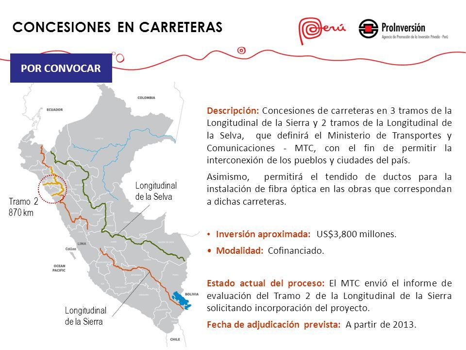 Descripción: Concesiones de carreteras en 3 tramos de la Longitudinal de la Sierra y 2 tramos de la Longitudinal de la Selva, que definirá el Minister