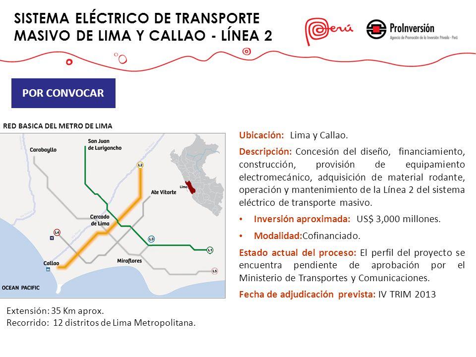 SISTEMA ELÉCTRICO DE TRANSPORTE MASIVO DE LIMA Y CALLAO - LÍNEA 2 Ubicación: Lima y Callao. Descripción:Concesión del diseño, financiamiento, construc