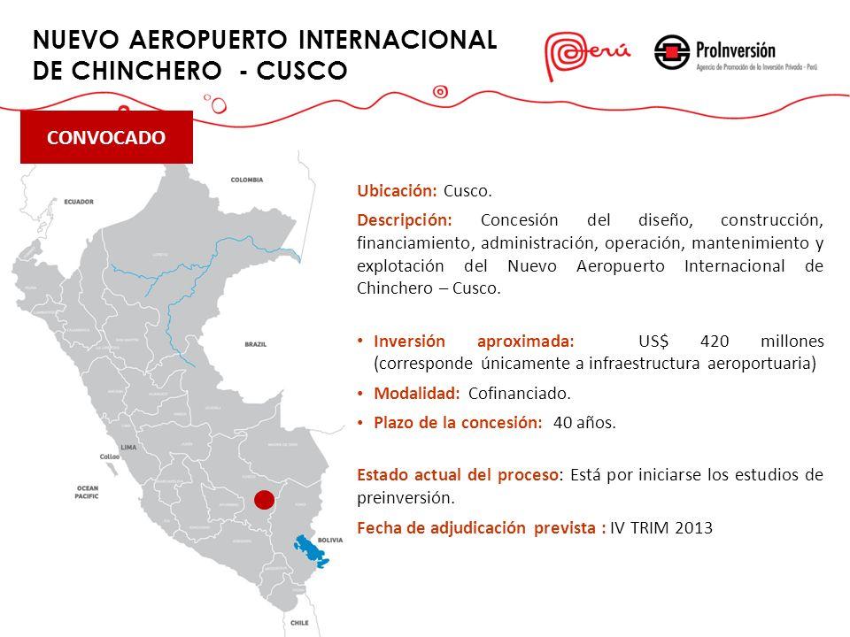 NUEVO AEROPUERTO INTERNACIONAL DE CHINCHERO - CUSCO Play Lobitos Ubicación: Cusco. Descripción: Concesión del diseño, construcción, financiamiento, ad