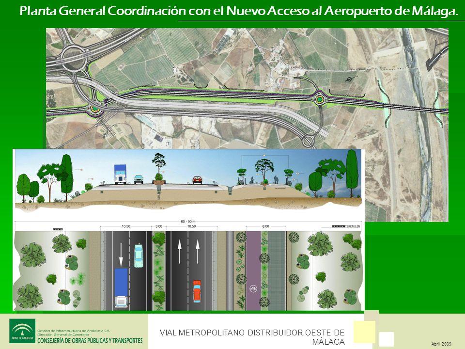 VIAL METROPOLITANO DISTRIBUIDOR OESTE DE MÁLAGA Abril 2009 Planta General Coordinación con el Nuevo Acceso al Aeropuerto de Málaga.