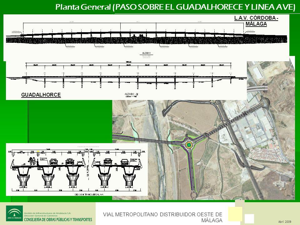 VIAL METROPOLITANO DISTRIBUIDOR OESTE DE MÁLAGA Abril 2009 Planta General (PASO SOBRE EL GUADALHORECE Y LINEA AVE) GUADALHORCE L.A.V. CÓRDOBA - MÁLAGA