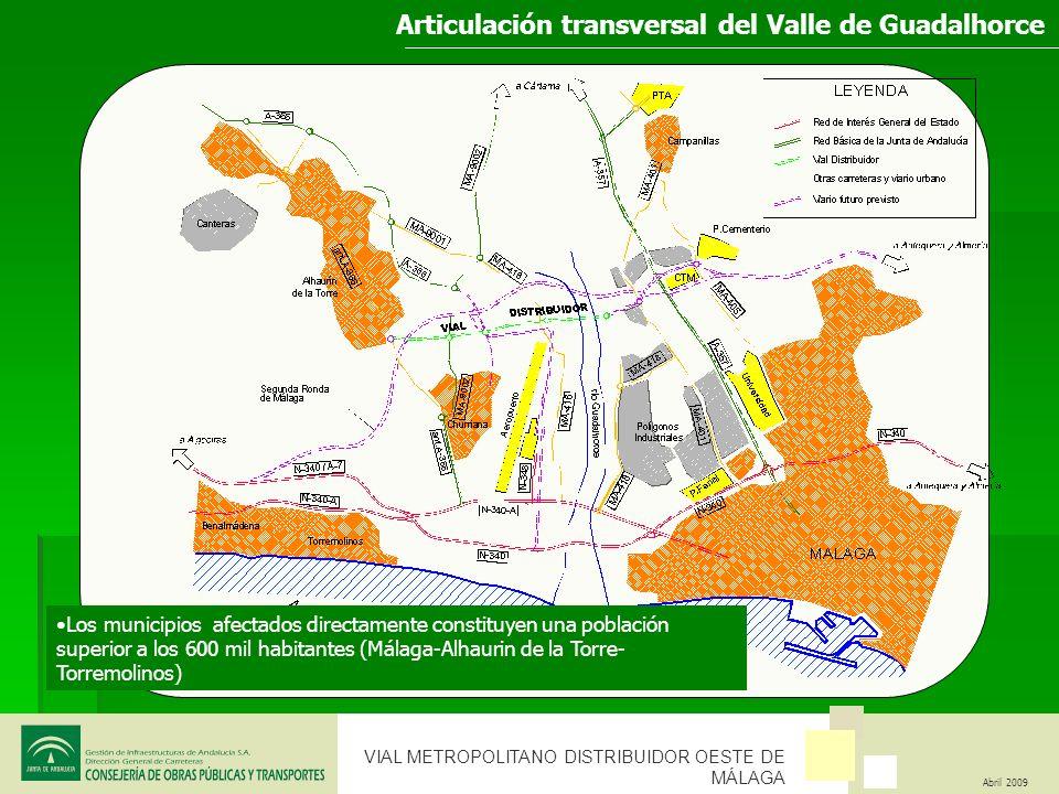 VIAL METROPOLITANO DISTRIBUIDOR OESTE DE MÁLAGA Abril 2009 CARACTERISTICAS DEL VIAL METROPOLITANO Permitirá la máxima accesibilidad de las zonas atravesadas.