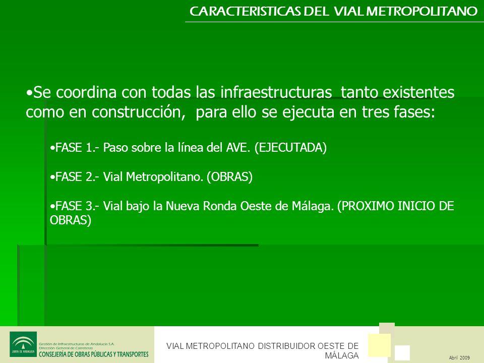 VIAL METROPOLITANO DISTRIBUIDOR OESTE DE MÁLAGA Abril 2009 CARACTERISTICAS DEL VIAL METROPOLITANO Se coordina con todas las infraestructuras tanto exi