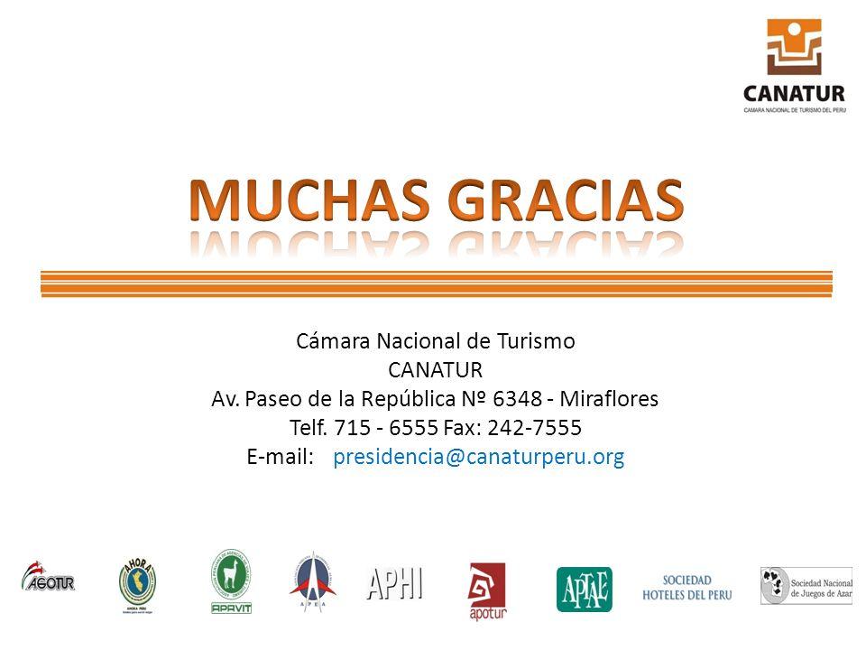 Cámara Nacional de Turismo CANATUR Av. Paseo de la República Nº 6348 - Miraflores Telf. 715 - 6555 Fax: 242-7555 E-mail:presidencia@canaturperu.org