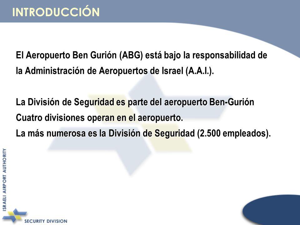El Aeropuerto Ben Gurión (ABG) está bajo la responsabilidad de la Administración de Aeropuertos de Israel (A.A.I.). La División de Seguridad es parte