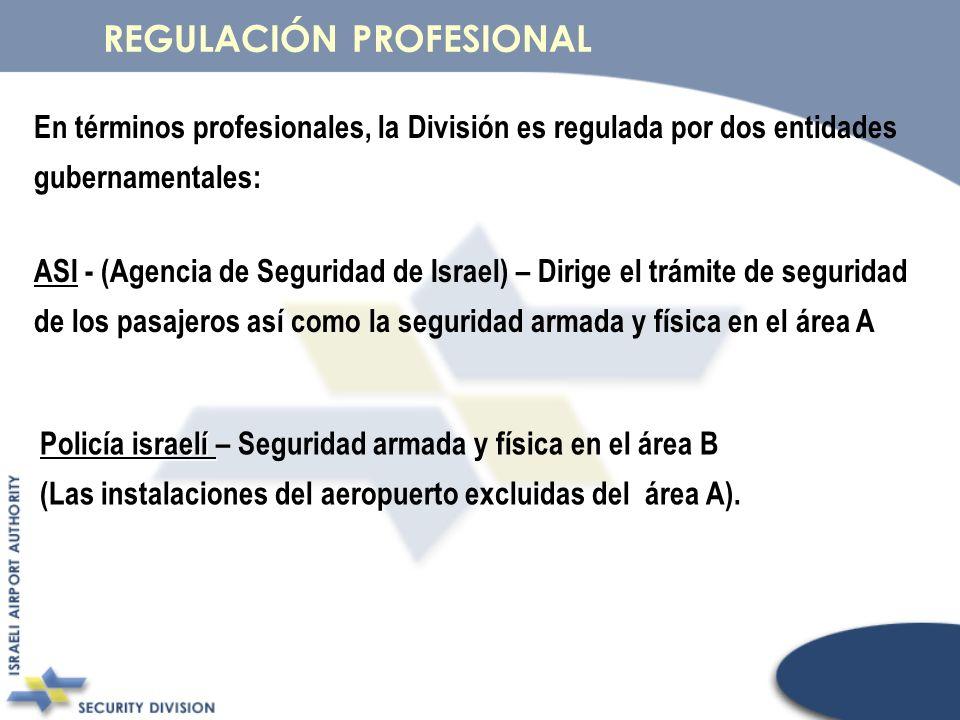En términos profesionales, la División es regulada por dos entidades gubernamentales: ASI - ASI - (Agencia de Seguridad de Israel) – Dirige el trámite
