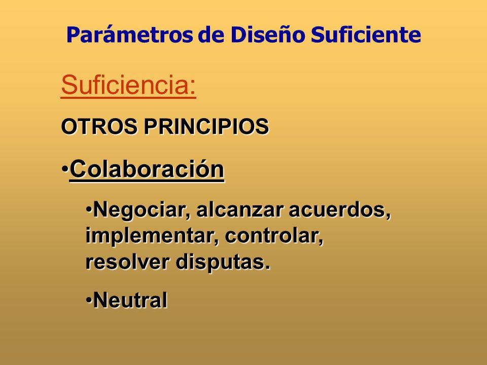 Suficiencia: OTROS PRINCIPIOS EficienciaEficiencia RecursosRecursos EconomíaEconomía GlobalizaciónGlobalización Parámetros de Diseño Suficiente