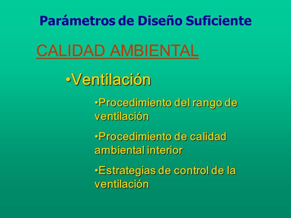 CALIDAD AMBIENTAL VentilaciónVentilación Medida y control del flujo de aire exteriorMedida y control del flujo de aire exterior Control de la presión interiorControl de la presión interior Parámetros de Diseño Suficiente