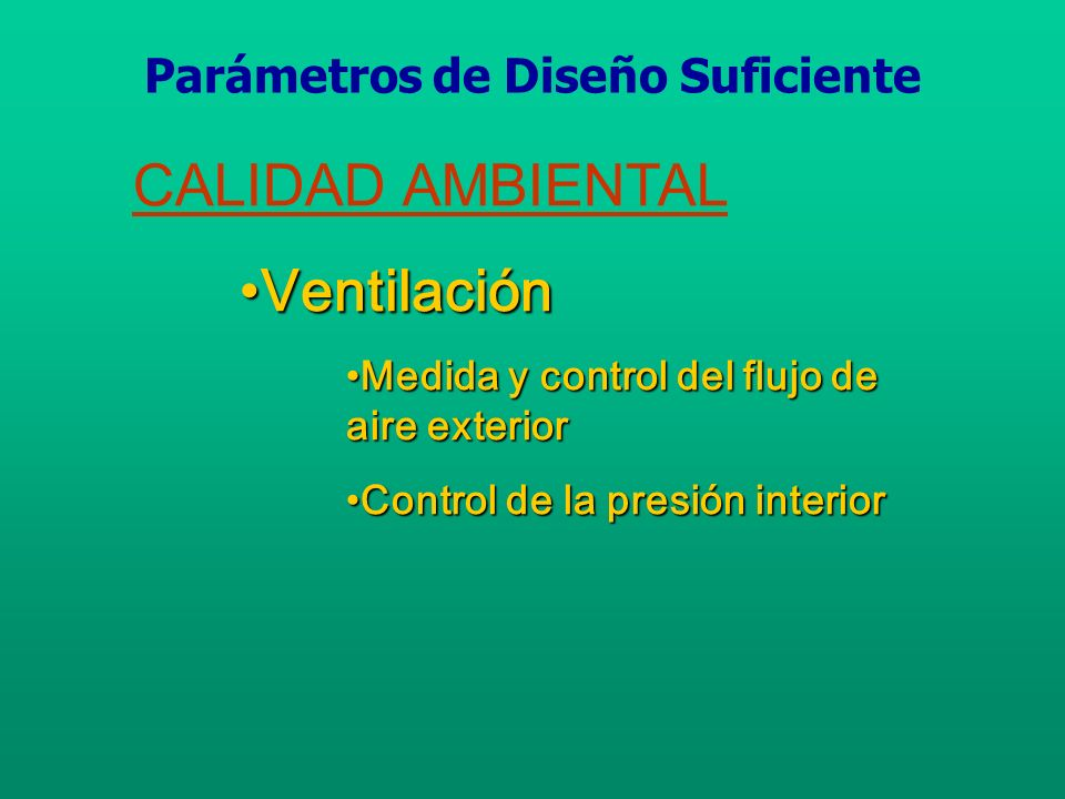 Procedimiento del rango de ventilación Aplicación Máximo Índice de Ocupación Estimado (personas/ 1000 ft 2 ) Requisitos del Aire Exterior cfm/ persona cfm/ ft 2 Oficinas Espacio de Oficinas720 Áreas de Recepción 6015 Centros de telecomunicaciones 6020 Salas de Conferencia 20 Fuente:ASHRAE Standard 62-2001