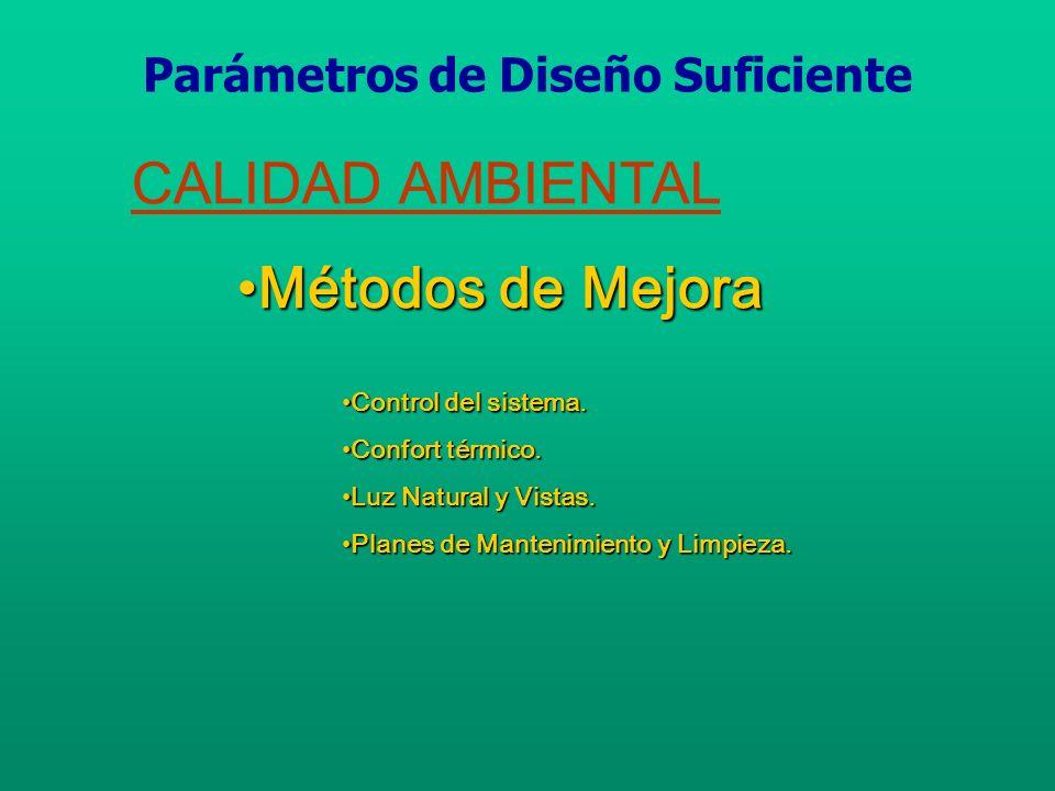 CALIDAD AMBIENTAL Síndrome del Edificio EnfermoSíndrome del Edificio Enfermo Parámetros de Diseño Suficiente
