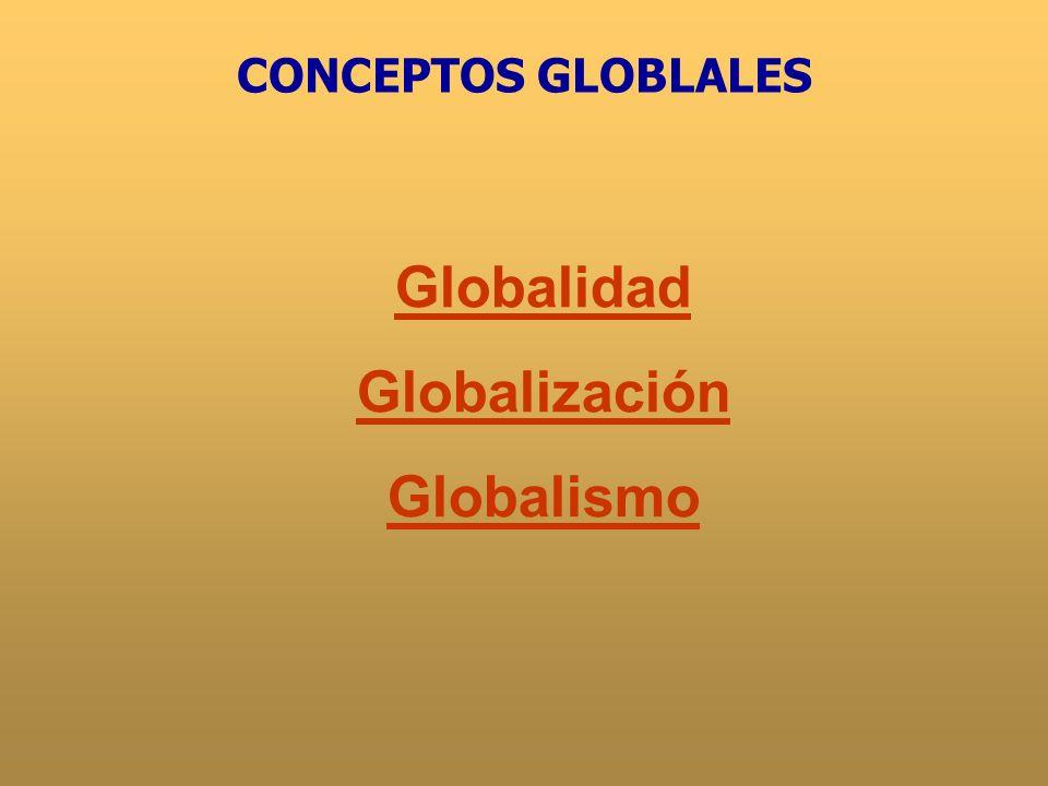 Globalidad Sociedad mundialSociedad mundial Distintas formas políticas, sociales, culturales y económicas inter- conexionadasDistintas formas políticas, sociales, culturales y económicas inter- conexionadas.